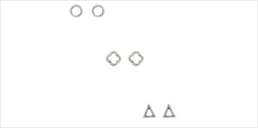 Go to Product: Sterling Silver Textured Geometric Stud Earrings - 3 Pack from Claires