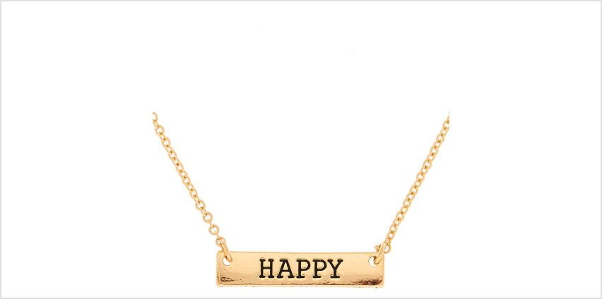 Go to Product: Gold Happy Bar Pendant Necklace from Claires