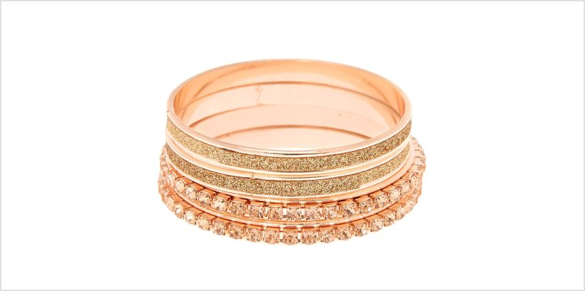Go to Product: Claire's Club Glitter Crystal Bangle Bracelets - Rose Gold, 4 Pack from Claires