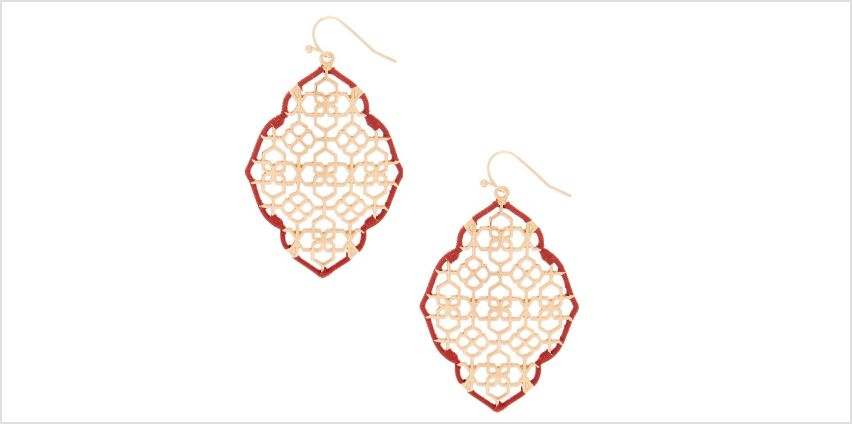 """Go to Product: Gold 2"""" Filigree Thread Drop Earrings - Red from Claires"""