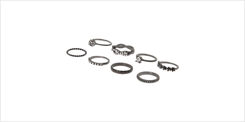 Go to Product: Hematite Forever Glam Rings - 8 Pack from Claires
