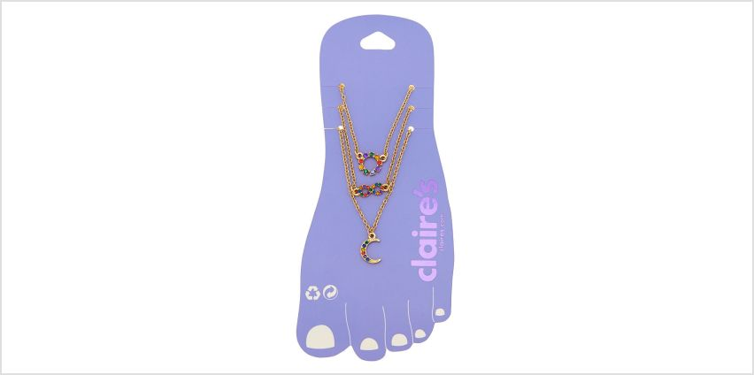 Go to Product: Rainbow Infinity Moon Anklet - Gold, 3 Pack from Claires