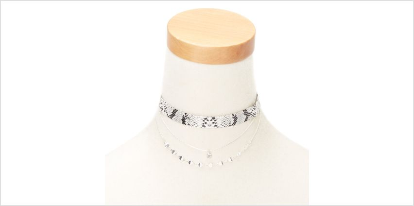 Go to Product: Silver Snake Skin Choker Necklaces - 2 Pack from Claires