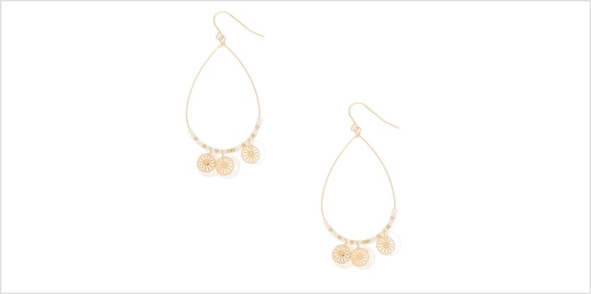 "Go to Product: Gold 2.5"" Teardrop Shell Filigree Drop Earrings - Ivory from Claires"
