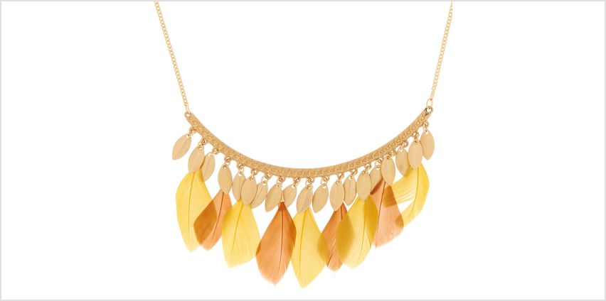 Go to Product: Gold Feather Bar Statement Necklace - Yellow from Claires