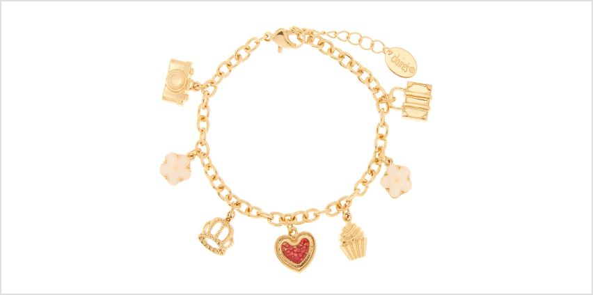 Go to Product: Gold Travel In Style Charm Bracelet from Claires