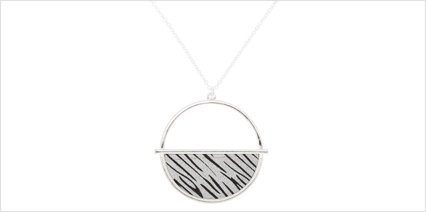 Go to Product: Silver Zebra Print Half Circle Pendant Necklace from Claires