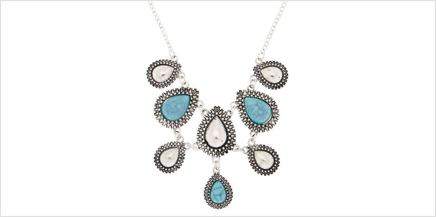 Go to Product: Antique Silver Teardrop Statement Necklace - Turquoise from Claires
