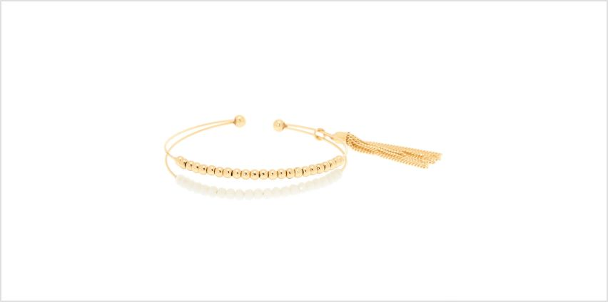 Go to Product: Gold Beaded Cuff Bracelet - White from Claires
