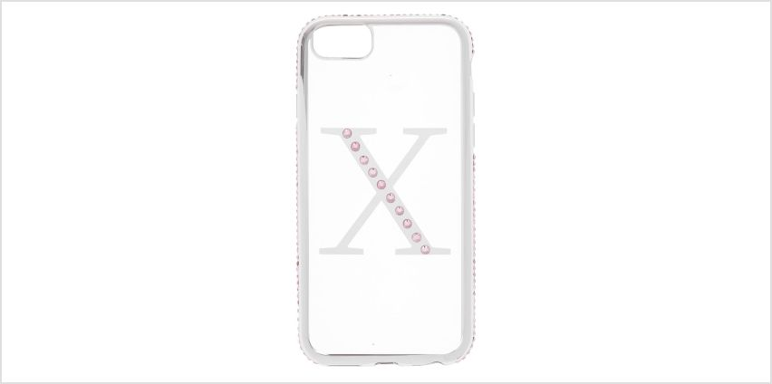 Go to Product: Pink Stone X Initial Phone Case - Fits iPhone 6/7/8 from Claires