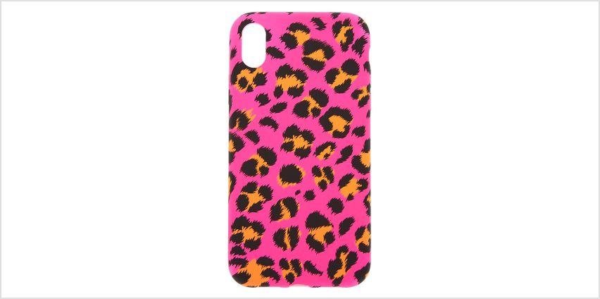 Go to Product: Neon Pink Leopard Print Phone Case - Fits iPhone XR from Claires