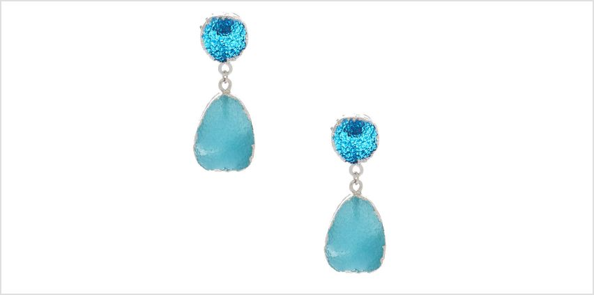 "Go to Product: 1.5"" Geode Drop Earrings - Blue from Claires"