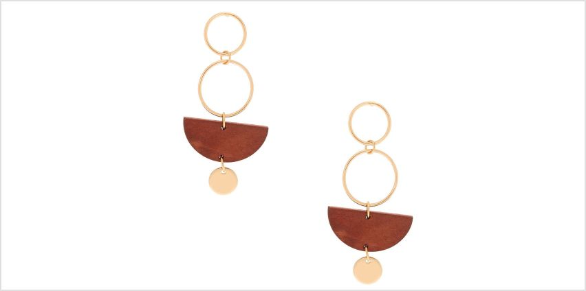 "Go to Product: Gold 2"" Geometric Wooden Drop Earrings - Brown from Claires"
