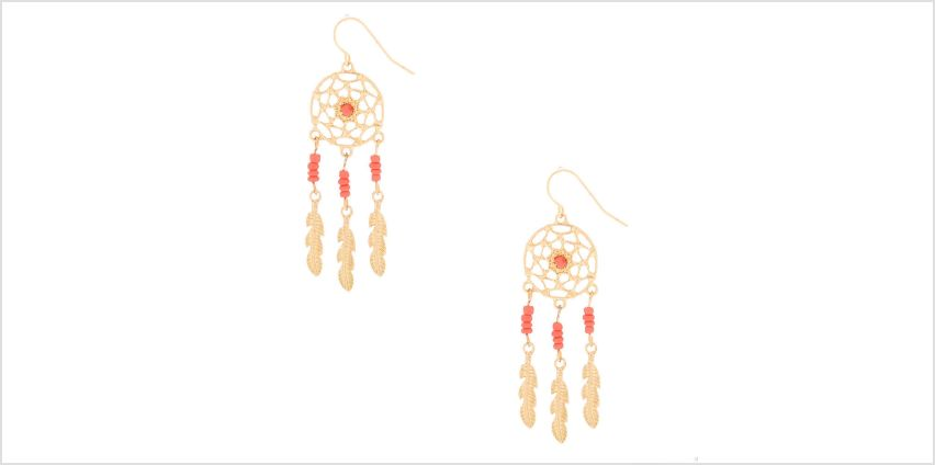 """Go to Product: Gold 2"""" Beaded Dreamcatcher Drop Earrings - Coral from Claires"""