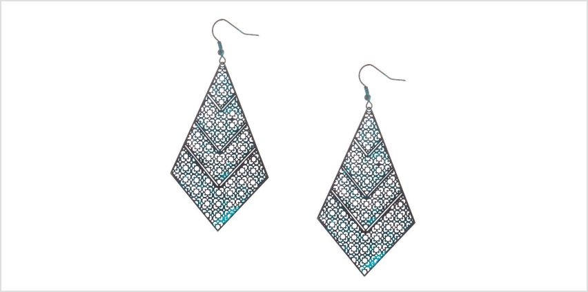"""Go to Product: 3"""" Rustic Patina Filigree Drop Earrings - Turquoise from Claires"""