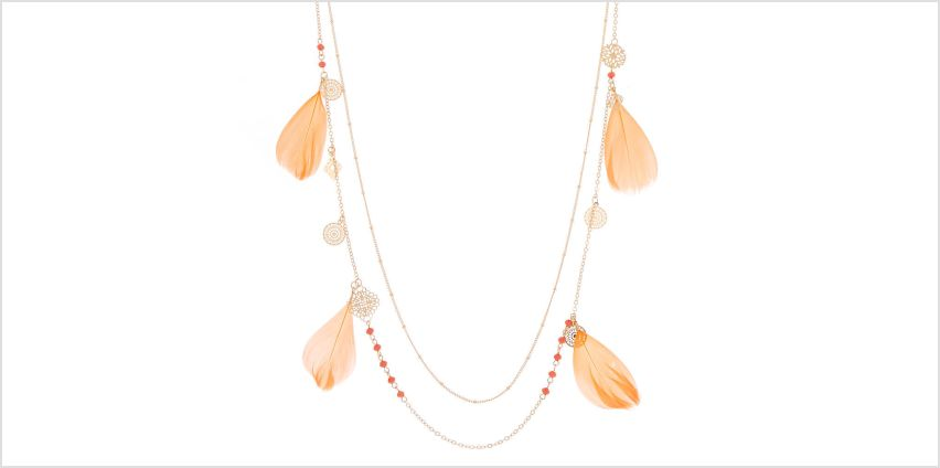 Go to Product: Gold Filigree Feather Multi Strand Necklace - Coral from Claires
