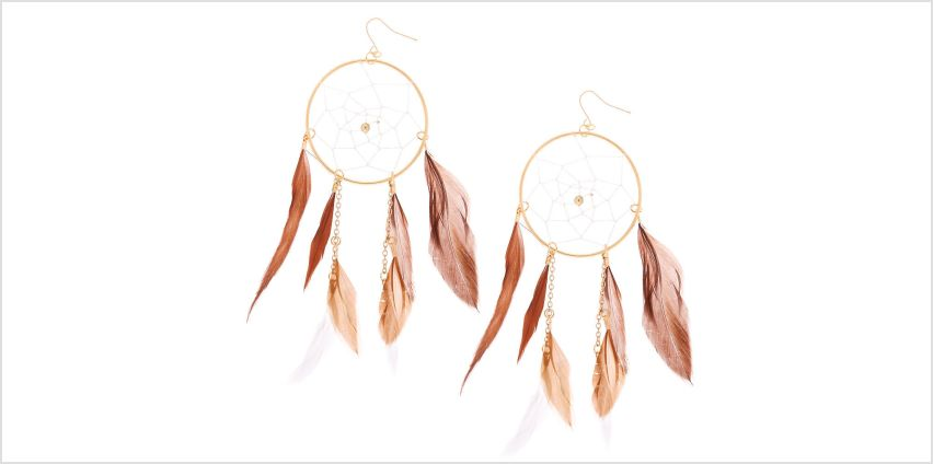 "Go to Product: Gold 5"" Dreamcatcher Earrings - Brown from Claires"
