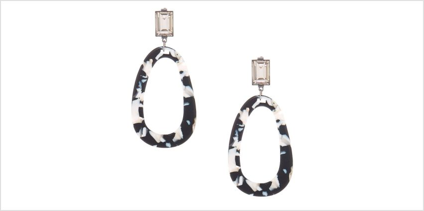 """Go to Product: 3"""" Black & White Resin Mod Drop Earrings from Claires"""