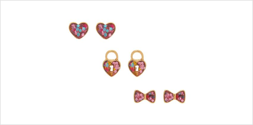Go to Product: 18kt Gold Plated Confetti Shape Stud Earrings - 3 Pack from Claires
