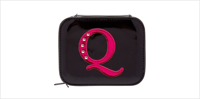 "Go to Product: Metallic Pink ""Q"" Initial Jewellery Case from Claires"