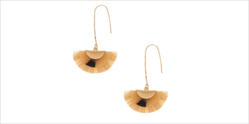 "Go to Product: Gold 2.5"" Resin Tortoiseshell & Raffia Drop Earrings from Claires"