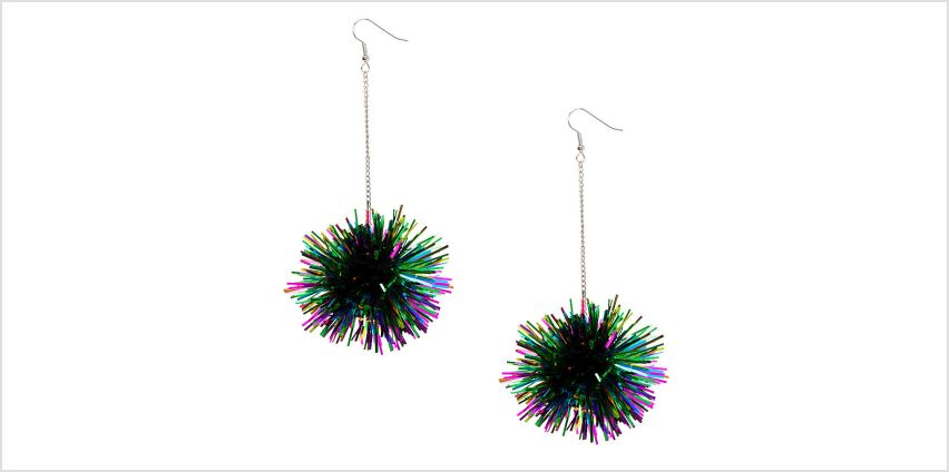 "Go to Product: Silver 4"" Rainbow Tinsel Pom Drop Earrings from Claires"