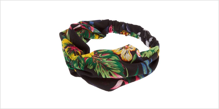 Go to Product: Tropical Floral Knotted Headwrap - Black from Claires