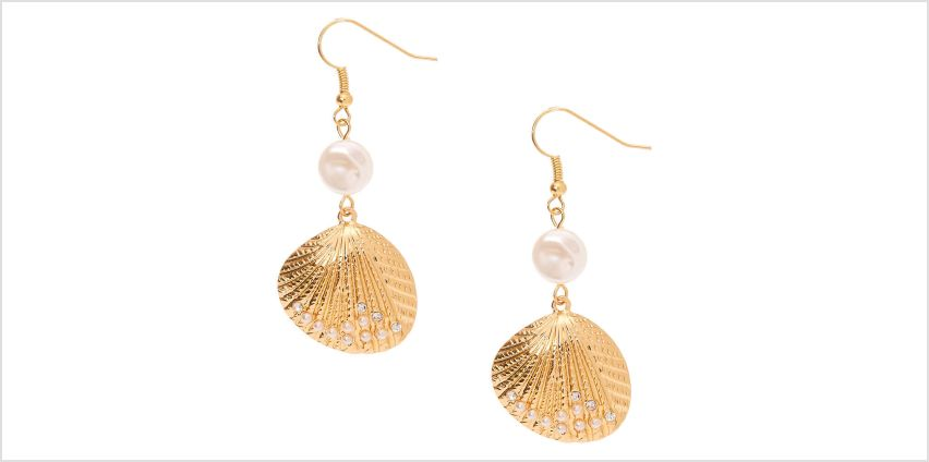 """Go to Product: Gold 2"""" Pearl Shell Drop Earrings from Claires"""