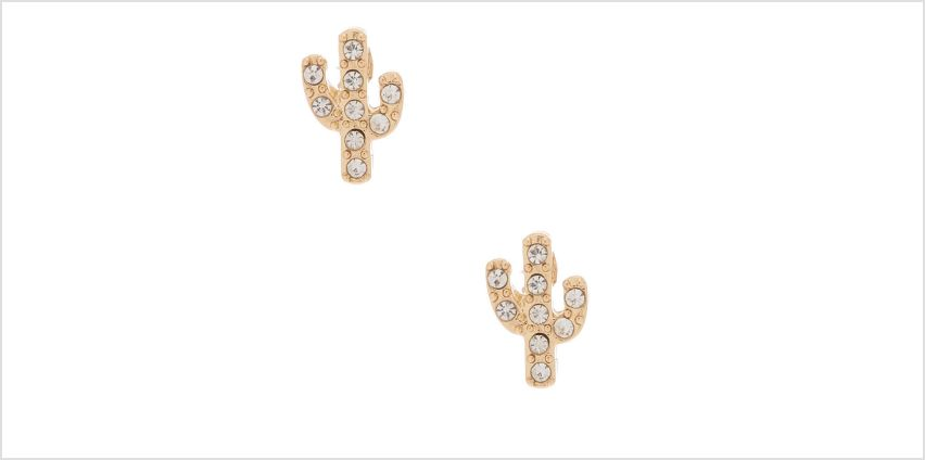 Go to Product: Gold Crystal Cactus Stud Earrings from Claires