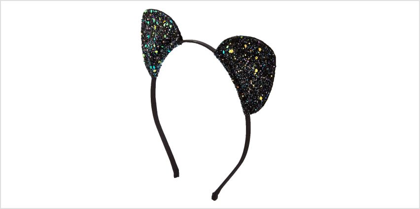 Go to Product: Black Glitter Cat Ears Headband from Claires