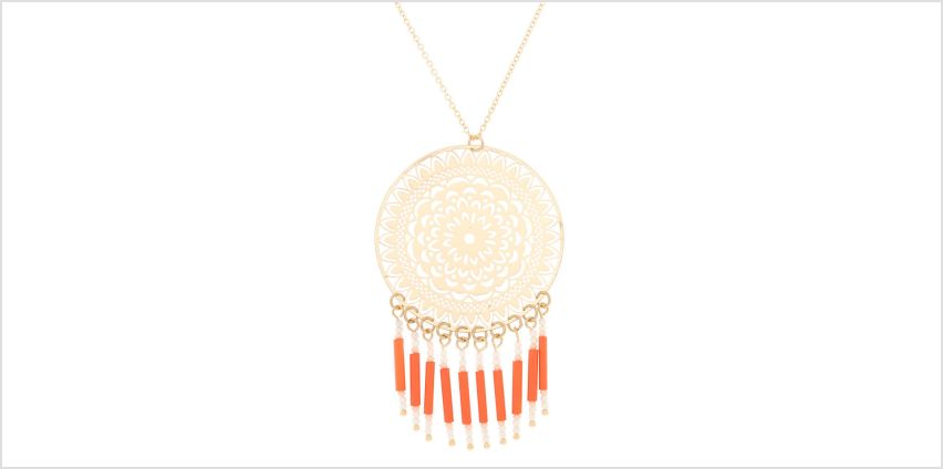 Go to Product: Gold Filigree Long Pendant Necklace - Coral from Claires