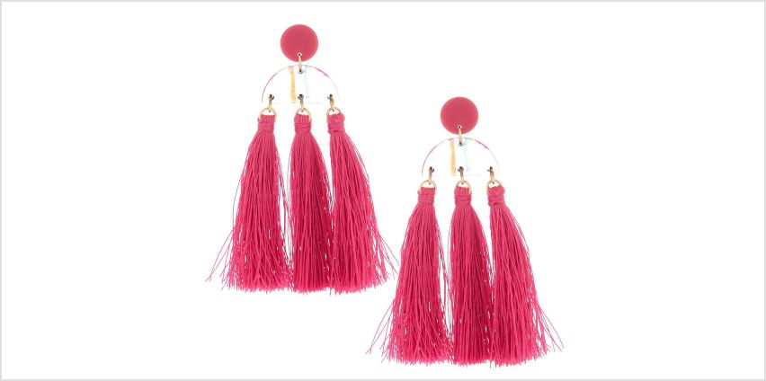 "Go to Product: Gold 3"" Rainbow Striped Tassel Drop Earrings - Pink from Claires"