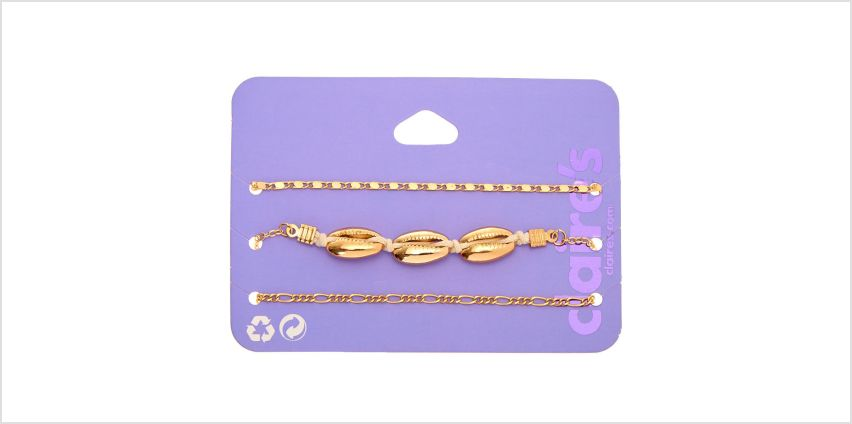 Go to Product: Gold Cowrie Shell Chain Bracelets - 3 Pack from Claires