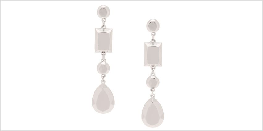 "Go to Product: Silver 3"" Metallic Shape Drop Earrings from Claires"