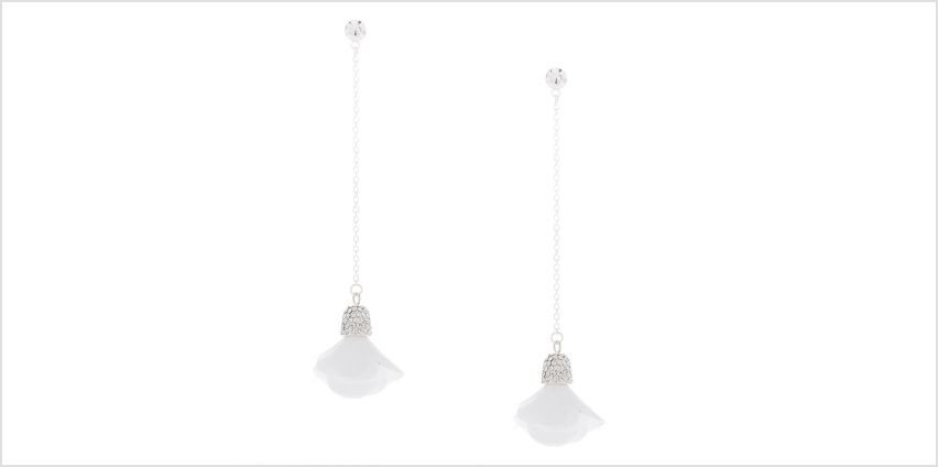 "Go to Product: Silver 3"" Linear Flower Drop Earrings - White from Claires"