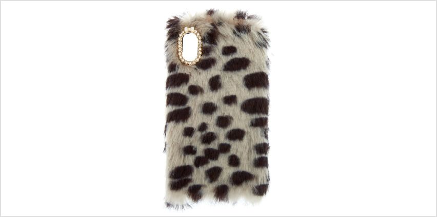 Go to Product: Spotted Faux Fur Phone Case - Fits iPhone X/XS from Claires