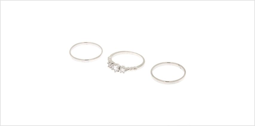 Go to Product: Silver Triple Cubic Zirconia Rings - 3 Pack from Claires
