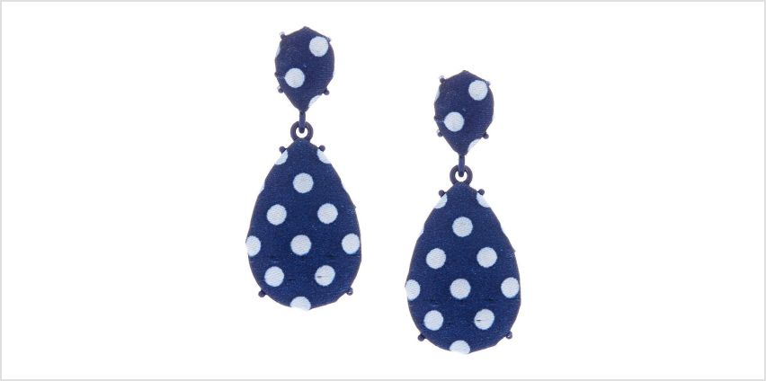 """Go to Product: 2"""" Gingham Polka Dot Drop Earrings - Navy from Claires"""