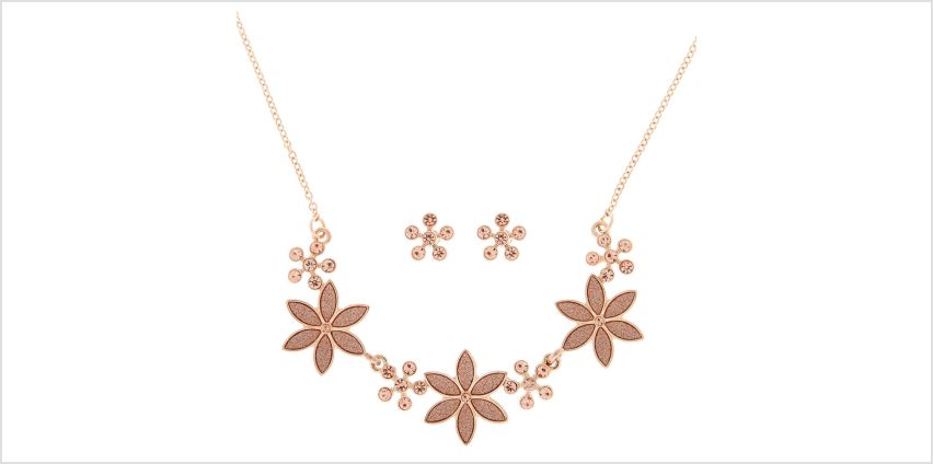 Go to Product: Rose Gold Glitter Flower Jewellery Set from Claires