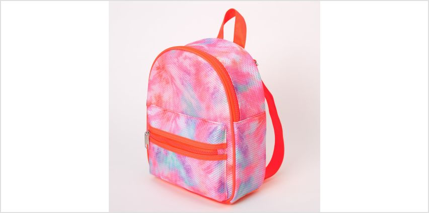 Go to Product: Mesh Neon Tie Dye Small Backpack - Coral from Claires