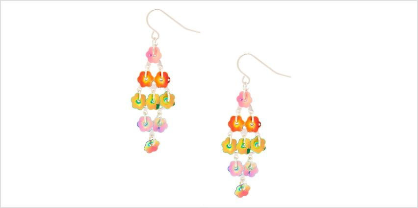 "Go to Product: 4"" Rainbow Petal Drop Earrings from Claires"