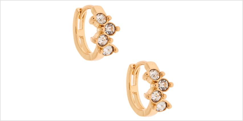 Go to Product: Gold 10MM Fancy Crystal Huggie Hoop Earrings from Claires