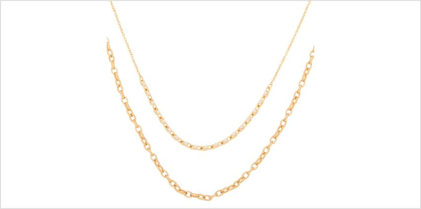 Go to Product: Gold Pearl Double Chain Statement Necklace from Claires