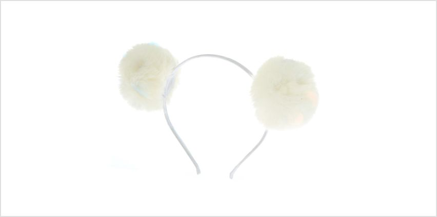 Go to Product: Sequin Pom Pom Ears Headband - White from Claires