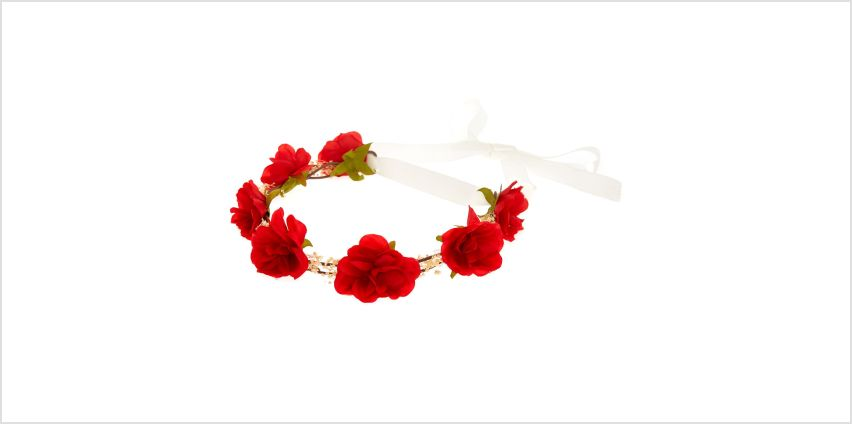 Go to Product: Red Rose Baby Breath Tie Headwrap from Claires