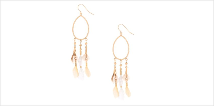 "Go to Product: Gold 3"" Oval Feather Drop Earrings - Cream from Claires"