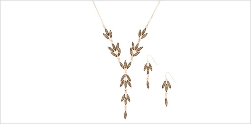 Go to Product: Rose Gold Leaf Jewellery Set - Grey, 2 Pack from Claires