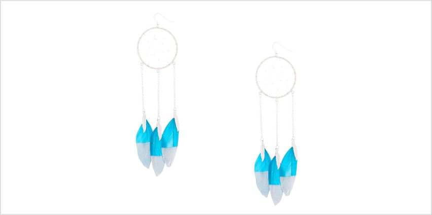"Go to Product: Silver 5"" Dreamcatcher Drop Earrings - Teal from Claires"