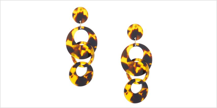 "Go to Product: Gold 2.5"" Round Tortoiseshell Link Drop Earrings - Brown from Claires"