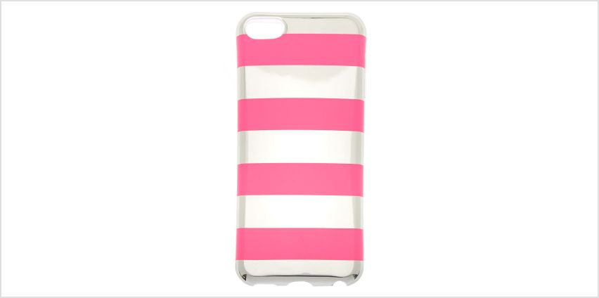 Go to Product: Silver & Pink Striped Phone Case - Fits iPhone 5/5S/SE from Claires